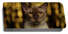 Closeup Portrait Burmese Cat On Happy New Year Background Portable Battery Charger