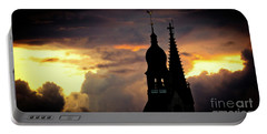 Cloudscape Of Orange Sunset Old Town Riga Latvia Portable Battery Charger