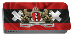 Coat Of Arms Of Amsterdam Over Flag Of Amsterdam Portable Battery Charger by Serge Averbukh