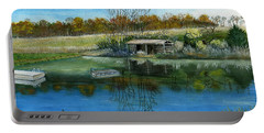 Portable Battery Charger featuring the painting Cole Hill Pond by Melly Terpening