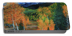 Portable Battery Charger featuring the painting Colorado Aspens by Jeanette French