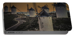 Portable Battery Charger featuring the photograph Consuegra Windmills 2 by Heiko Koehrer-Wagner