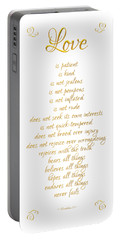 1 Corinthians 13 Love Is White Background Portable Battery Charger