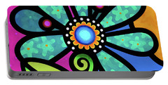 Cosmic Daisy In Aqua Portable Battery Charger