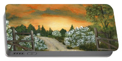 Portable Battery Charger featuring the painting Country Road by Anastasiya Malakhova