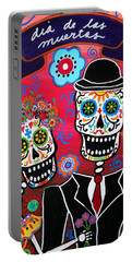 Portable Battery Charger featuring the painting Couple Day Of The Dead by Pristine Cartera Turkus