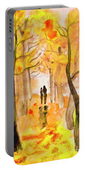 Couple On Autumn Alley, Painting Portable Battery Charger