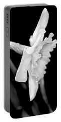 Portable Battery Charger featuring the photograph Daffodil Flower Black And White by Jennie Marie Schell