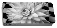 Dahlia On Checker Background Portable Battery Charger