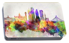 Dallas Skyline In Watercolor Background Portable Battery Charger by Pablo Romero