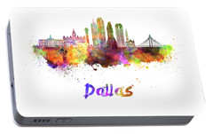 Dallas Skyline In Watercolor Portable Battery Charger by Pablo Romero