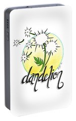 Portable Battery Charger featuring the drawing Dandelion by Cindy Garber Iverson