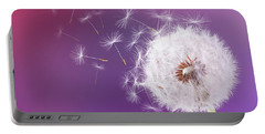 Dandelion Flying On Magenta Background Portable Battery Charger