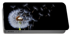 Portable Battery Charger featuring the photograph Dandelion On Black Background by Bess Hamiti