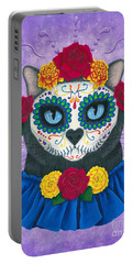 Portable Battery Charger featuring the painting Day Of The Dead Cat Gal - Sugar Skull Cat by Carrie Hawks
