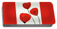 Portable Battery Charger featuring the painting Decorative Poppies Acrylic Painting C62017 by Mas Art Studio