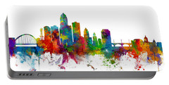 Des Moines Iowa Skyline Portable Battery Charger by Michael Tompsett