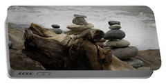 Driftwood Cairns Portable Battery Charger by Kimberly Mackowski
