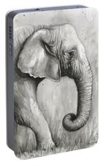 Elephant Watercolor Portable Battery Charger by Olga Shvartsur