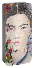 Portable Battery Charger featuring the painting Emily Dickinson - Oil Portrait by Fabrizio Cassetta