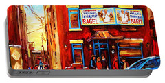 Portable Battery Charger featuring the painting Fairmount Bagel In Winter by Carole Spandau