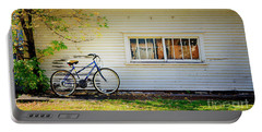 Portable Battery Charger featuring the photograph Fall Bicycle Of Laramie by Craig J Satterlee