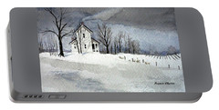 Farmhouse In Winter Portable Battery Charger
