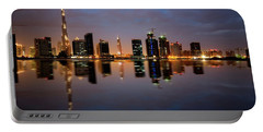 Fascinating Reflection Of Tallest Skyscrapers In Bussiness Bay D Portable Battery Charger