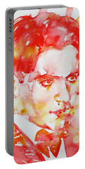 Portable Battery Charger featuring the painting Federico Garcia Lorca - Watercolor Portrait by Fabrizio Cassetta