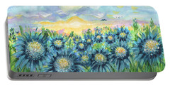 Field Of Blue Flowers Portable Battery Charger