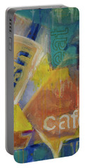 Portable Battery Charger featuring the painting Fish Cafe by Susan Stone