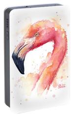 Flamingo Watercolor  Portable Battery Charger by Olga Shvartsur
