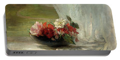 Flowers On A Window Ledge Portable Battery Charger