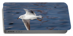 Flying Gull Above Water Portable Battery Charger by Michal Boubin