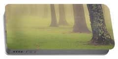 Portable Battery Charger featuring the photograph Foggy Trees Pano by Joye Ardyn Durham