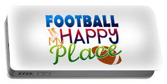 Football Is My Happy Place Portable Battery Charger by Shelley Overton