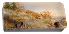Fox And Pheasants In Winter Portable Battery Charger by Anonymous