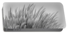 Foxtails On A Hill In Black And White Portable Battery Charger