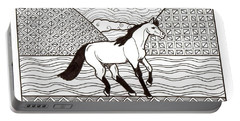 Portable Battery Charger featuring the drawing Free Spirit by Wendy Coulson