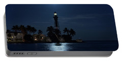 Full Moon Over Hillsboro Lighthouse In Pompano Beach Florida Portable Battery Charger