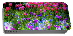 Garden Flowers With Tulips Portable Battery Charger