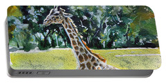 Portable Battery Charger featuring the painting Giraffe by Kovacs Anna Brigitta