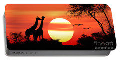 Giraffes At Sunset Portable Battery Charger
