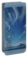 Globe Symbol View  On Sky Background In Norway Portable Battery Charger