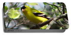 Goldfinch Spring Portable Battery Charger by Angela Davies