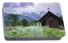Portable Battery Charger featuring the photograph Grand Teton Church by Dawn Romine