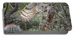 Great Horned Owl Portable Battery Charger by Tam Ryan
