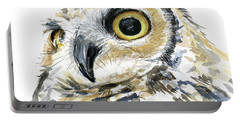 Great Horned Owl Watercolor Portable Battery Charger
