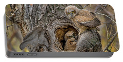 Great Horned Owlets In A Nest Portable Battery Charger