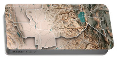 Greater Sacramento Area California Usa 3d Render Topographic Map Portable Battery Charger